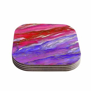 Kess InHouse Ebi Emporium 'Agate Magic - Red Lavender' Purple Geological Coasters (Pack of 4)