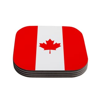 Kess InHouse Bruce Stanfield 'Flag of Canada' Red White Coasters (Set of 4)