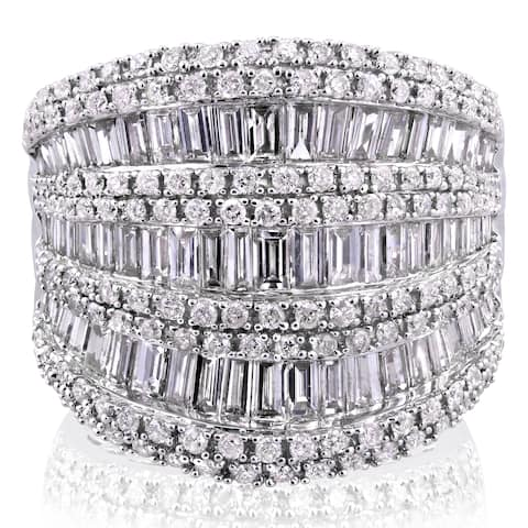 Annello by Kobelli 10k White Gold 2 1/2ct TDW Round and Baguette Diamond Extra Wide Anniversary Ring