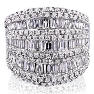 Annello by Kobelli 10k White Gold 2 1/2ct TDW Round and Baguette Diamond Wide Anniversary Ring|https://ak1.ostkcdn.com/images/products/11808557/P18716585.jpg?impolicy=medium