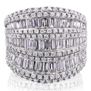 Annello by Kobelli 10k White Gold 2 1/2ct TDW Round and Baguette Diamond Wide Anniversary Ring