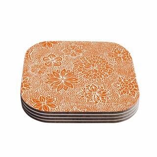 Kess InHouse Julia Grifol 'Garden Flowers' Orange Floral Coasters (Set of 4)