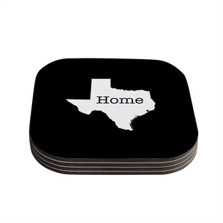 """Kess InHouse Bruce Stanfield """"Texas State Outline"""" Black White Coasters (Set of 4) 4""""x 4"""""""