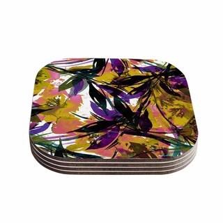 Kess InHouse Ebi Emporium 'Floral Fiesta - Yellow Purple' Gold Lavender Coasters (Set of 4)