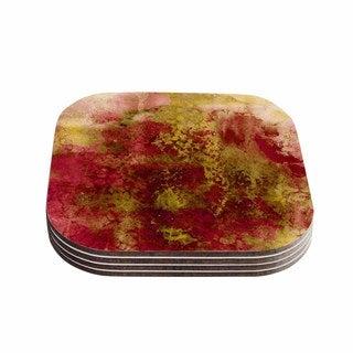 Kess InHouse Ebi Emporium 'Epoch 4' Red Green Coasters (Set of 4)