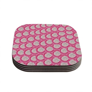 Kess InHouse KESS InHouse Akwaflorell 'Oho Boho' Pink Wood 4-piece Coaster Set