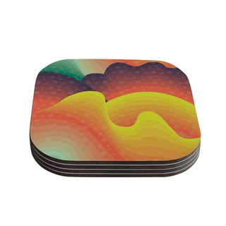 Kess InHouse Akwaflorell 'Waves Waves' Coasters (Set of 4)