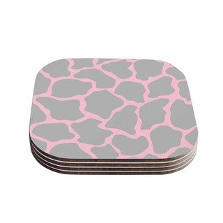 Kess InHouse Wildlife 'Pink Animal Print 9' Pink Digital Coasters (Set of 4)