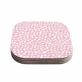 Kess InHouse Wildlife 'Pink Animal Print 4' White Digital Coasters (Set of 4)