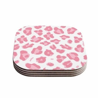Kess InHouse Wildlife 'Pink Animal Print 2' Pink Digital Coasters (Set of 4)