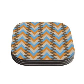 Kess InHouse Julia Grifol 'My Triangles in Blue' Aqua Orange Coasters (Set of 4)