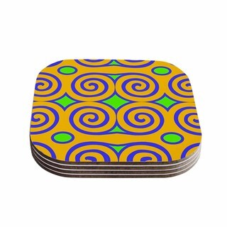 Kess InHouse Dan Sekanwagi 'Locked Ram's Horns-Clear Day' Orange Digital Coasters (Set of 4)