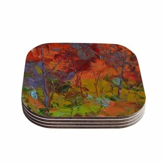 Kess InHouse KESS InHouse Jeff Ferst 'Fall Colours' Red Wood 4-piece Coaster Set