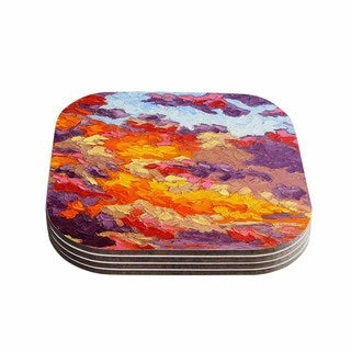 Kess InHouse Jeff Ferst 'Evening Multicolor Sky' Sunset Sky Coasters (Set of 4)