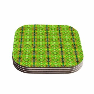 Kess InHouse Bruce Stanfield 'Rage Against The Machine' Green Pattern Coasters (Set of 4)