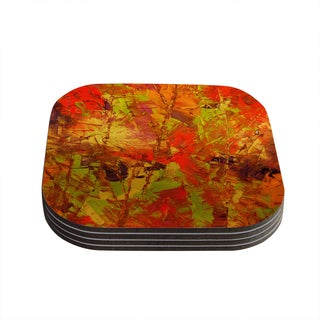 Kess InHouse Jeff Ferst 'Autumn' Orange Red Coasters (Set of 4)