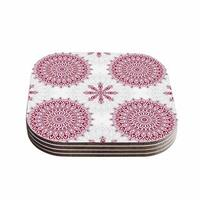 Kess InHouse Julia Grifol 'Geometric Mandalas' Red White Coasters (Set of 4)
