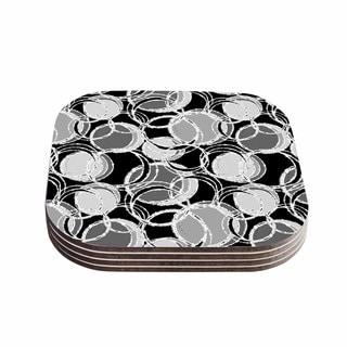 Kess InHouse Julia Grifol 'Simple Grey Circles' Black Gray Coasters (Set of 4)