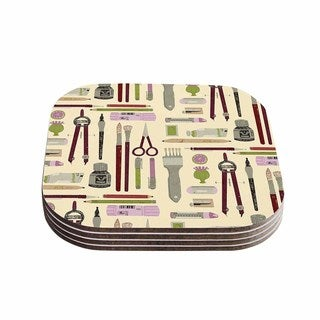 Kess InHouse Judith Loske 'Art Supplies' Tan Pattern Coasters (Set of 4)