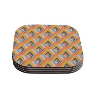 Kess InHouse Akwaflorell 'So Cool' Orange Yellow Coasters (Set of 4)