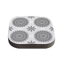 Kess InHouse Julia Grifol 'Black Mandala' White Black Coasters (Set of 4)
