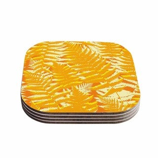 Kess InHouse Jacqueline Milton 'Fun Fern - Citrus' Orange Gold Coasters (Set of 4)