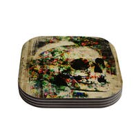 Kess InHouse Frederic Levy-Hadida 'Floral Skully' Coasters (Set of 4)