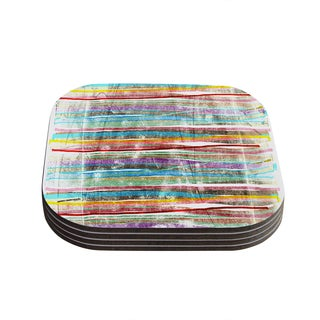 Kess InHouse Frederic Levy-Hadida 'Fancy Stripes Light' Multicolored Wood Coasters (Pack of 4)