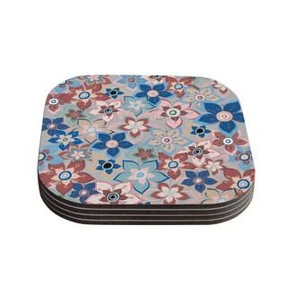 Kess InHouse Jolene Heckman 'Marsala Floral Mix' Pink Blue Coasters (Set of 4)