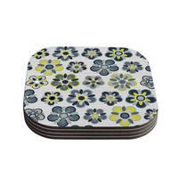 Kess InHouse Jolene Heckman 'Blue Folksy' Yellow/Grey Compressed Wood Coasters (Pack of 4)