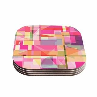 Kess InHouse KESS InHouse Fimbis 'Paku' Pink Geometric Wood 4-piece Coaster Set