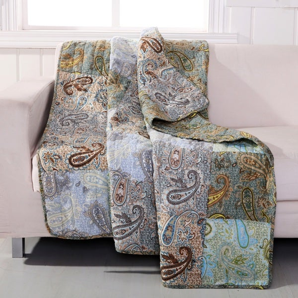 Greenland Home Fashions  Paisley Dream Authentic Patchwork Throw Quilt
