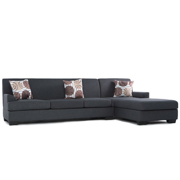 2 piece modern ash grey contemporary linen fabric for Clarke fabric sectional sofa 2 piece