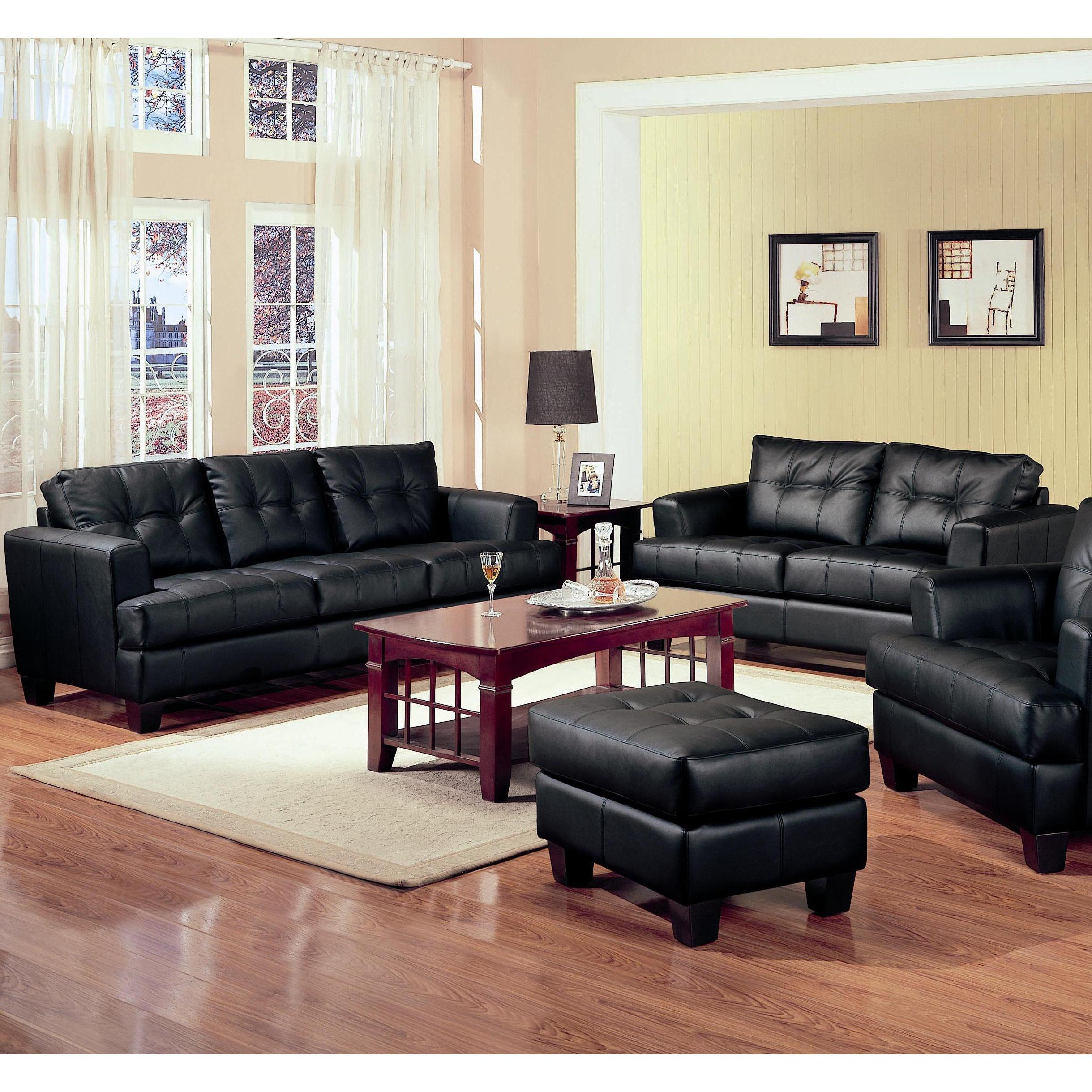 Madison 2 Piece Modern Black Bonded Leather Sofa and Love...