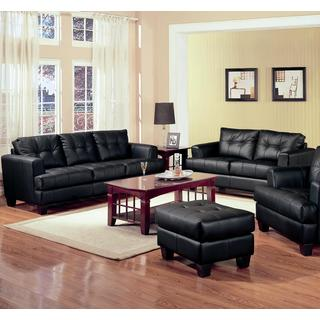 2 Piece Modern Black Bonded Leather Sofa and Loveseat Livingroom Set