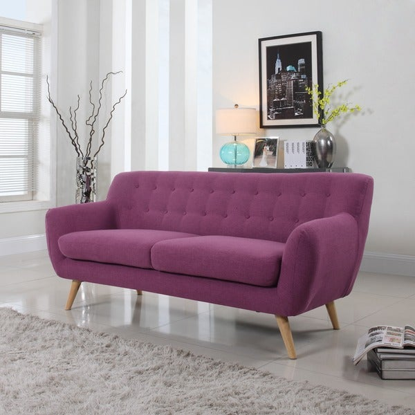 Fabric Furniture: Shop Mid-Century Modern Tufted Linen Fabric Sofa