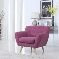 Mid-Century Modern Tufted Linen Fabric Accent Chair