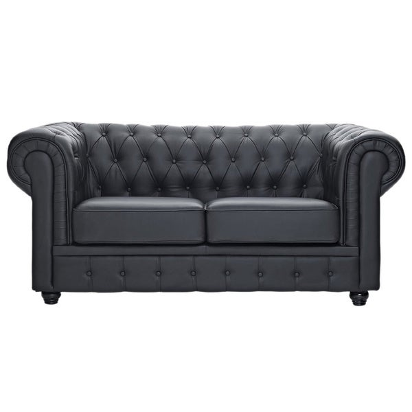 Shop Classic Scroll Arm Tufted Bonded Leather Chesterfield