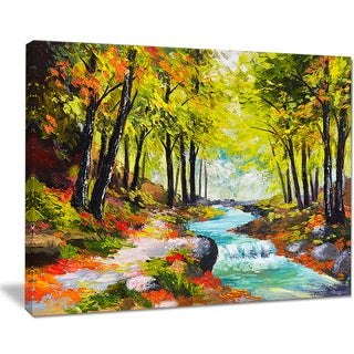 Designart 'River in Green Autumn Forest' Landscape Painting Canvas Print