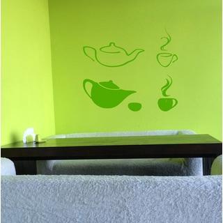 Chinese teapot Wall Art Sticker Decal Green