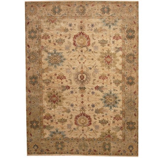 Herat Oriental Indo Hand-knotted Vegetable Dye Oushak Beige/ Brown Wool Rug (9' x 12')