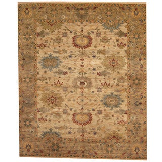 Herat Oriental Indo Hand-knotted Vegetable Dye Oushak Beige/ Gray Wool Rug (8' x 10')