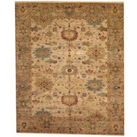 Handmade Herat Oriental Indo Vegetable Dye Oushak Beige/ Gray Wool Rug - 8' x 10' (India)