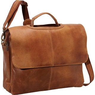 LeDonne Flap-over Leather Distressed Computer Briefcase