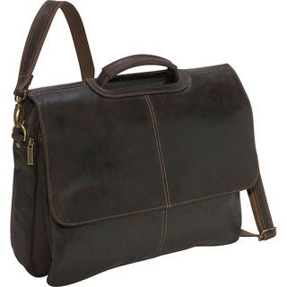 LeDonne Leather Flap-over Leather Distressed Computer Briefcase