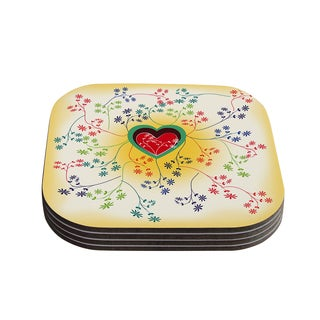 Kess InHouse Famenxt 'Romantic' Yellow Heart Coasters (Set of 4)