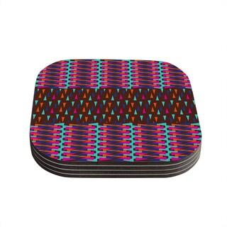 Kess InHouse Famenxt 'Abstract Triangle Pattern' Pink Aqua Coasters (Set of 4)