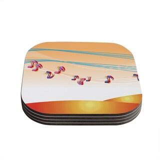 Kess InHouse Fotios Pavlopoulos 'Nature Music' Orange White Coasters (Set of 4)