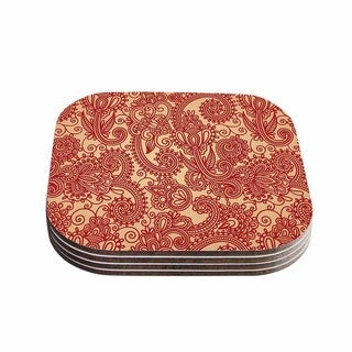 Kess InHouse Fotios Pavlopoulos 'Floral Loop' Red Tan Coasters (Set of 4)