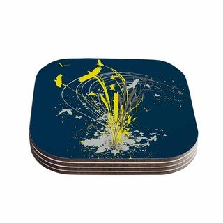 Kess InHouse Frederic Levy-Hadida 'Migratory Patterns' Blue Yellow Coasters (Set of 4)